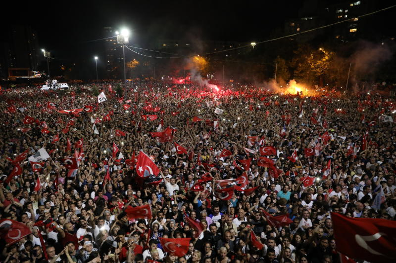 Supporters of Ekrem Imamoglu, the candidate of the secular opposition Republican People's Party, CHP, cheer at a celebratory rally in Istanbul, late Sunday, June 23, 2019. Tens of thousands of people attended an election night celebration after a repeated vote in Istanbul made Imamoglu the mayor-elect of Turkey's largest city. (AP Photo)