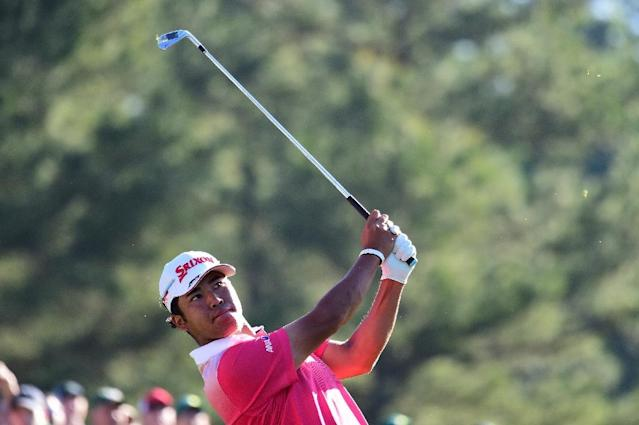 Hideki Matsuyama of Japan plays his shot from the 12th tee at Augusta National Golf Club on April 4, 2017 (AFP Photo/Harry How)
