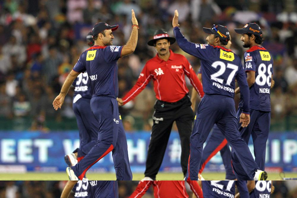 Delhi Daredevils Captain Mahela Jayawardene and Virender Sehwag celebrates his winning during match 39 of the Pepsi Indian Premier League between The Delhi Daredevils and the Pune Warriors India held at the Chhattisgarh International Cricket Stadium in Raipur on the 28th April 2013. (BCCI)