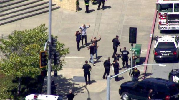 PHOTO: California police respond to reports of an active shooter at the YouTube headquarters in San Bruno, Calif., April 3, 2018. (KGO)