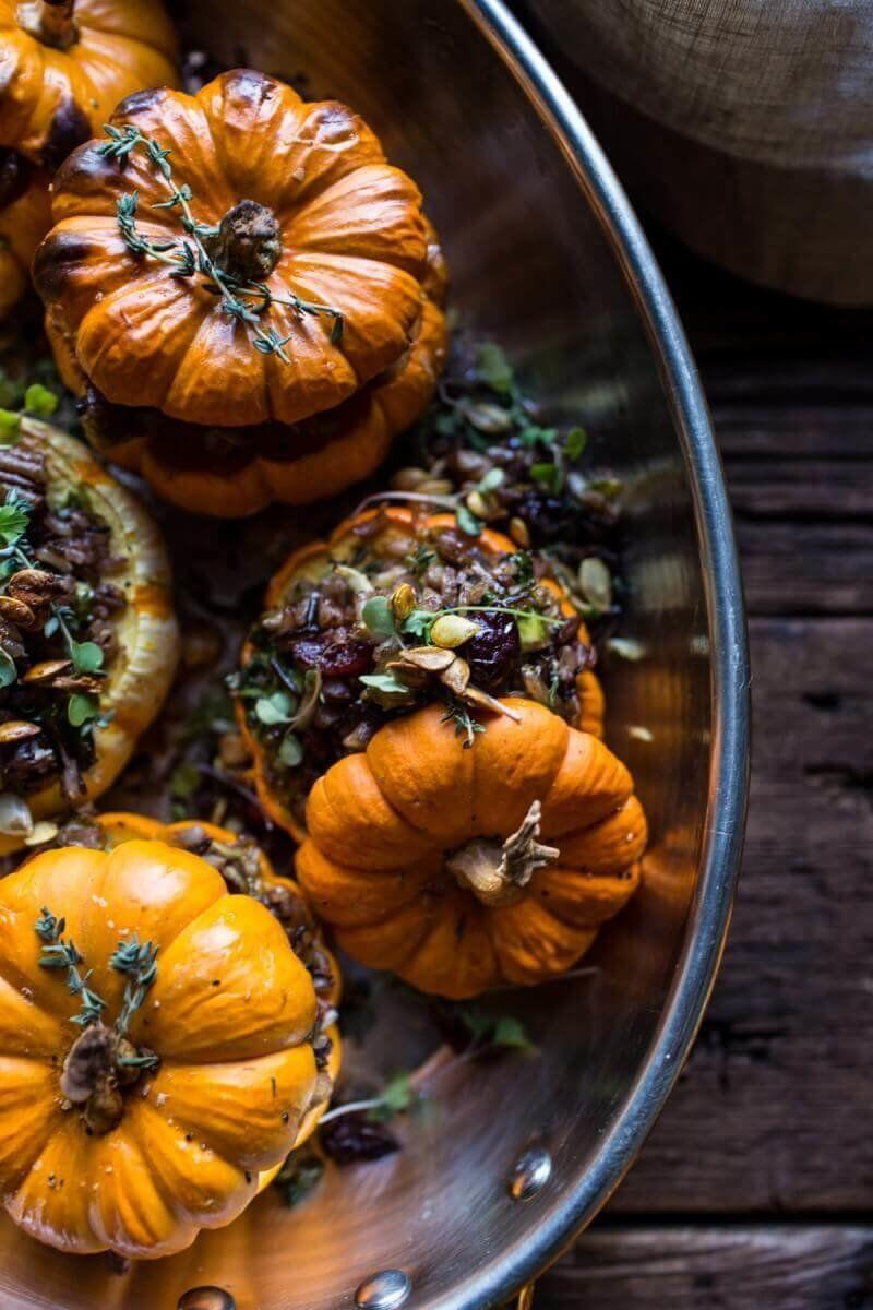 """<strong>Get the <a href=""""https://www.halfbakedharvest.com/nutty-wild-rice-and-shredded-brussels-sprout-stuffed-mini-pumpkins/"""" target=""""_blank"""">Nutty Wild Rice And Shredded Brussels Sprout Stuffed Mini Pumpkins recipe</a> from Half Baked Harvest</strong>"""
