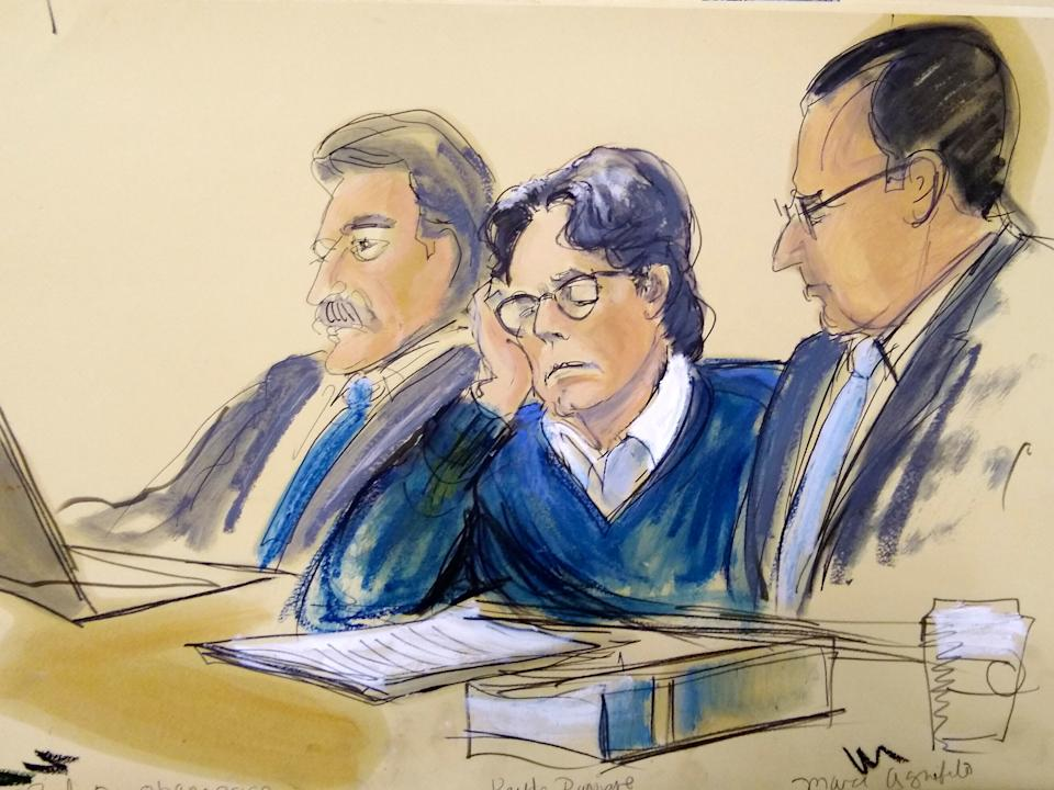 Keith Raniere (centre) in a court sketch dated 18 June 2019, made during closing arguments in Brooklyn federal courtElizabeth Williams via AP