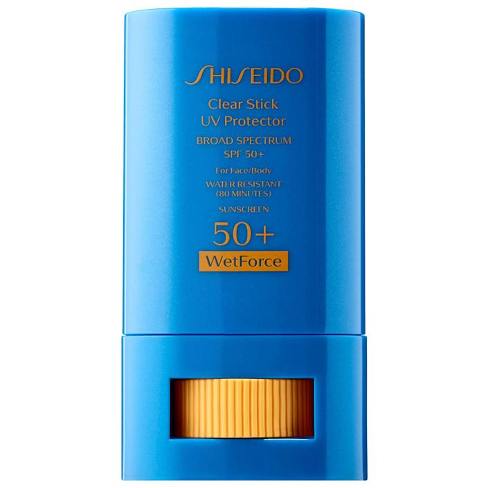 """<p>No longer will you need to lug around heavy bottles of sunscreen on outdoor excursions. The lightweight, portable Shiseido Clear Stick UV Protector WetForce SPF 50+ stick provides a hefty dose of SPF 50, and it's water- and sweat-resistant to boot. What's more, this formula is totally transparent, so it's easy to reapply sans mirror (a feature that comes in handy whether you're trekking to the top of a mountain or, ya know, lounging at the beach).</p> <p><strong>$28</strong> (<a href=""""https://shop-links.co/1635175962673182045"""" rel=""""nofollow noopener"""" target=""""_blank"""" data-ylk=""""slk:Shop Now"""" class=""""link rapid-noclick-resp"""">Shop Now</a>)</p>"""
