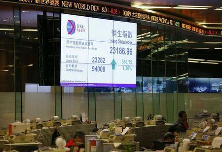 Closing Hang Seng index is displayed inside trading hall of Hong Kong Stock Exchange