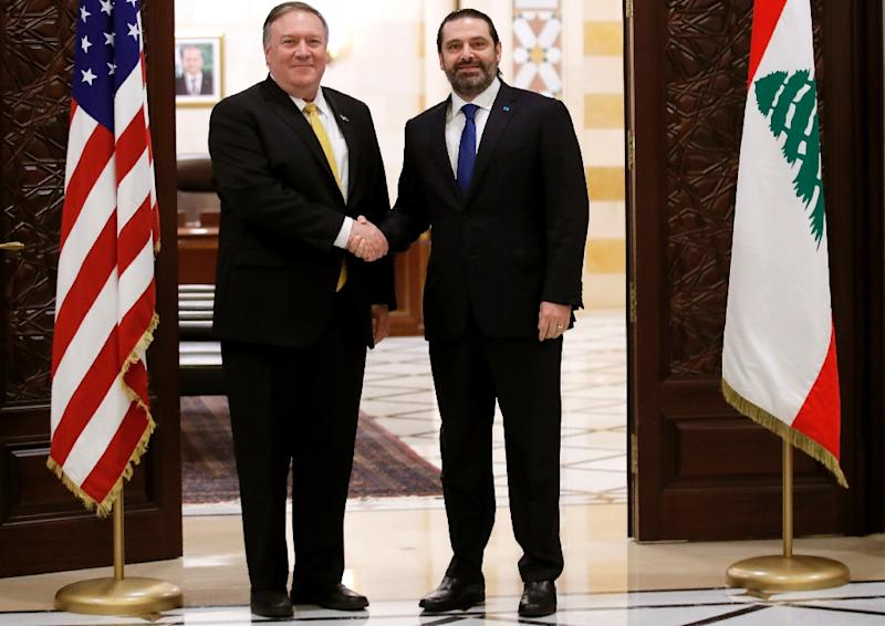 US Secretary of State Mike Pompeo meets Lebanese Prime Minister Saad Hariri on the latest leg of a regional tour to build a united front against Iran (AFP Photo/JIM YOUNG)