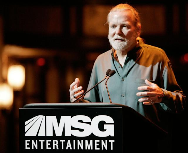 <p>Gregg Allman of the Allman Brothers band talks during a news conference Wednesday, Nov. 15, 2006 where it was announced that Madison Square Garden has acquired the Beacon Theater in New York City. (AP Photo/Jeff Christensen) </p>