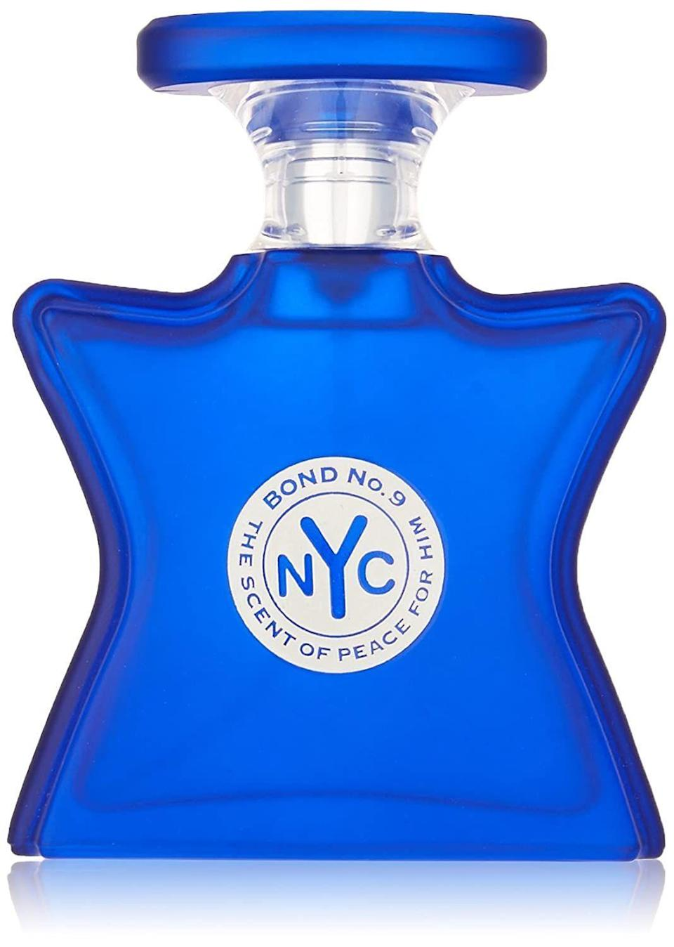 """<p><strong>Bond No. 9</strong></p><p>amazon.com</p><p><strong>$191.37</strong></p><p><a href=""""https://www.amazon.com/dp/B00KAII37O?tag=syn-yahoo-20&ascsubtag=%5Bartid%7C10054.g.34385982%5Bsrc%7Cyahoo-us"""" rel=""""nofollow noopener"""" target=""""_blank"""" data-ylk=""""slk:Shop Now"""" class=""""link rapid-noclick-resp"""">Shop Now</a></p><p>Last but certainly not least, you've got to have the perfect fall scent. Bond No. 9 has reformulated their bestselling Scent of Peace perfume into a men's cologne, and the result — a cedarwood fragrance with notes of patchouli and juniper — is intoxicating.</p>"""
