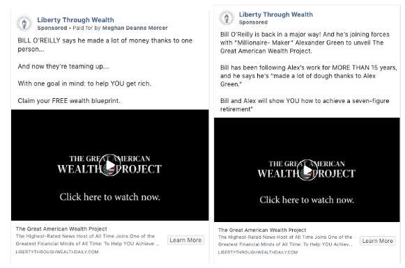 """Facebook removed misleading """"Liberty Through Wealth"""" ads paid for by The Oxford Club after being contacted by HuffPost. (Photo: Jessica Schulberg/HuffPost)"""