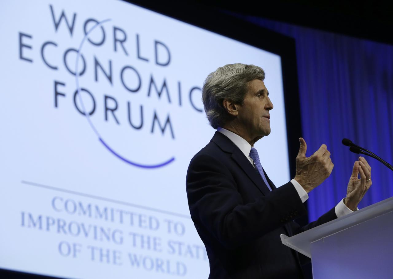 U.S. Secretary of State John Kerry delivers his speech at the World Economic Forum in Davos, Switzerland January 24, 2014. Kerry returns to the United States tomorrow. REUTERS/Gary Cameron (SWITZERLAND - Tags: POLITICS BUSINESS)