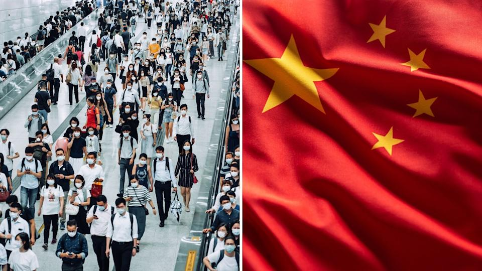 Dozens of pedestrians in China wearing masks, Chinese flag.