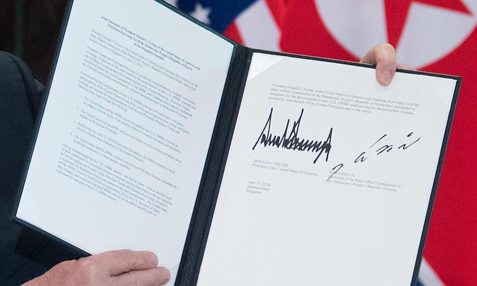 The agreement signed by Kim and Trump. Click to enlarge.