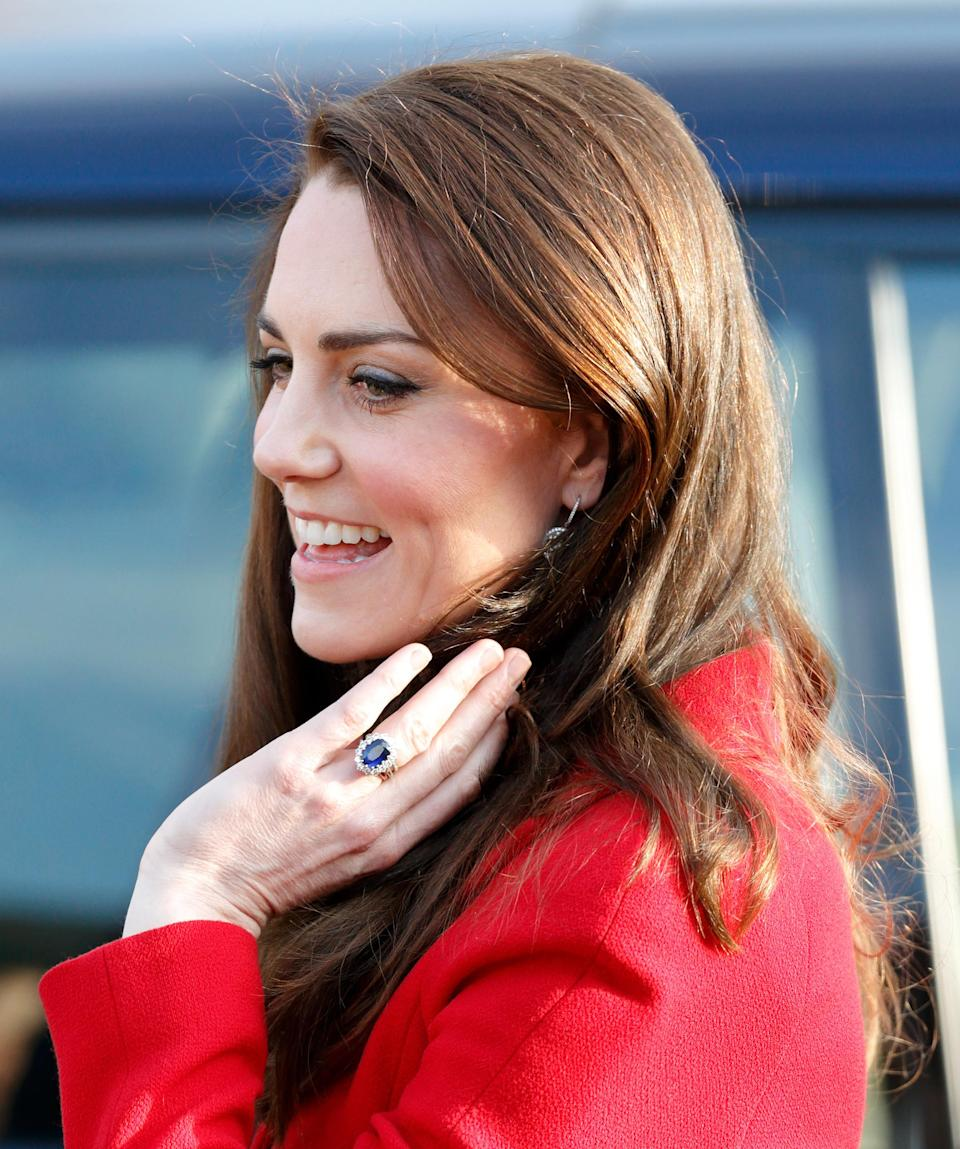 <p>Kate's engagement ring is one of the most famous pieces of jewellery in the world. The sapphire rock, sat on a bed of diamonds, belonged to Princess Diana and is reported to have cost just £28,000 when it was bought in 1981.<em> [Photo: Getty]</em> </p>