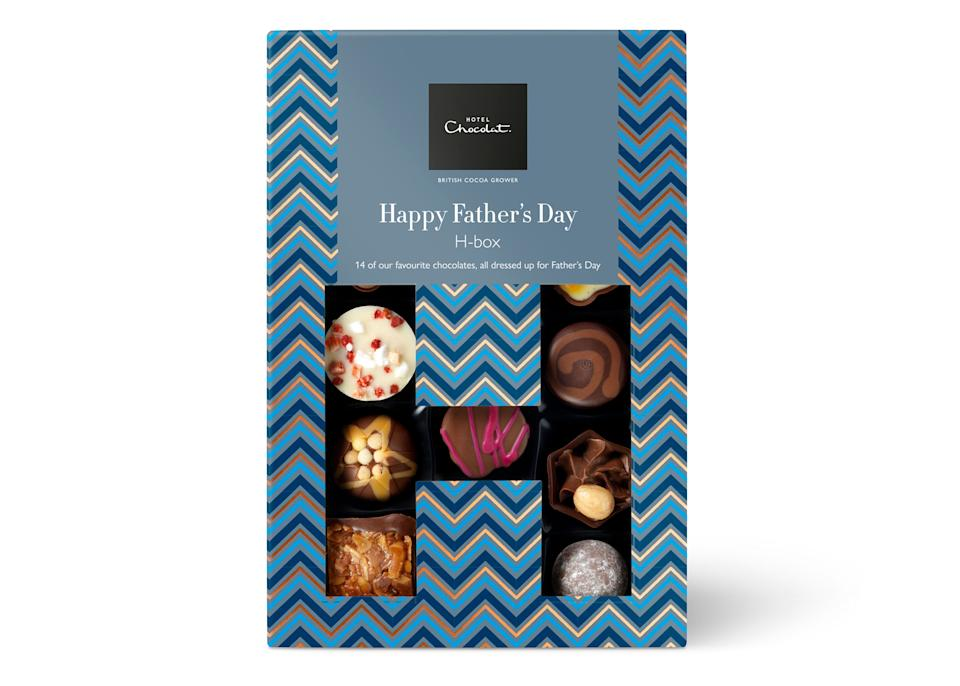 """Hotel Chocolat is our number one pit-stop when it comes to shopping for the perfect (albeit last-minute) Father's Day gift. We're talking everything from Eton Mess choccies to champagne truffles the whole family will end up scoffing. <a href=""""https://go.skimresources.com?id=134214X1597530&xs=1&url=https%3A%2F%2Fwww.hotelchocolat.com%2Fuk%2Ffathers-day-chocolates.html%23start%3D7"""" rel=""""nofollow noopener"""" target=""""_blank"""" data-ylk=""""slk:Buy now"""" class=""""link rapid-noclick-resp""""><em>Buy now</em></a>."""