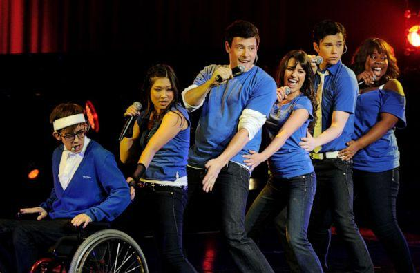 PHOTO: (L-R) Actor/singers Kevin McHale, Jenna Ushkowitz, Cory Monteith, Lea Michele, Chris Colfer and Amber Riley of Fox TV's 'Glee' perform at The Gibson Amphitheater on May 20, 2010, in Universal City, Calif. (Kevin Winter/Getty Images, FILE)