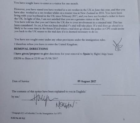 The letter received by the Brazilian woman from the Home Office, before the removal notice was later postponed
