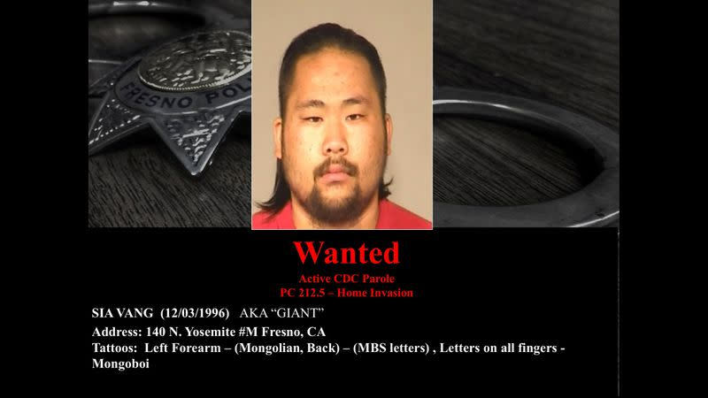 A photo of wanted suspect Sia Vang linked to a November shooting in Fresno, California, U.S. is seen