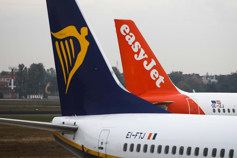 Ryanair and Easy Jet planes are seen at Tegel Airport in Berlin, Germany on 25 September 2019. (Photo by Jakub Porzycki/NurPhoto via Getty Images)