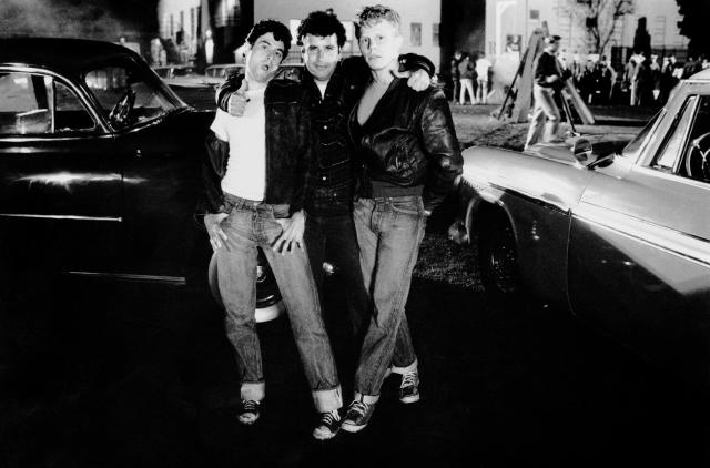 From left: Barry Pearl, Michael Tucci, and Kelly Ward on the set of <em>Grease.</em> (Photo: Courtesy of Paramount c/o the Everett Collection)