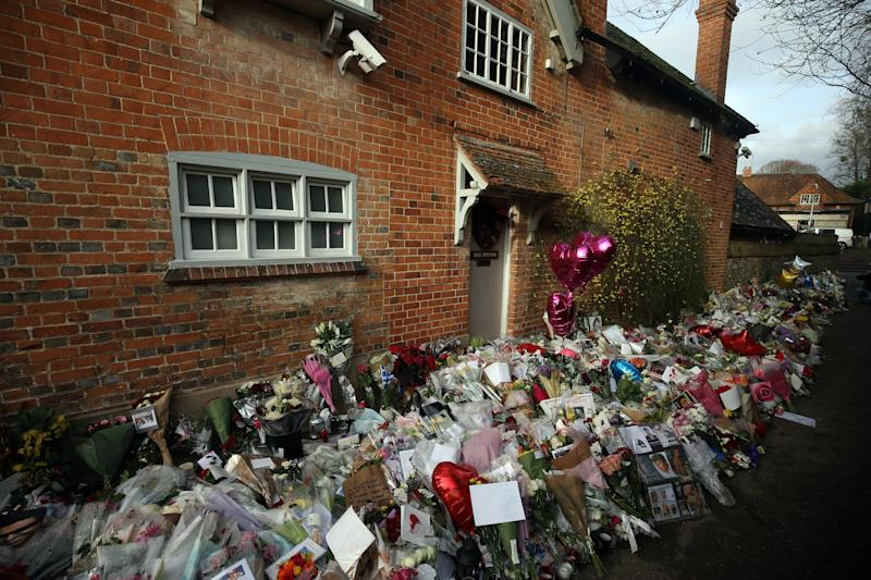 The floral tributes left outside the home of George Michael in Goring-on-Thames, Oxfordshire, after he died on Christmas Day aged 53 (Credit: PA Images)