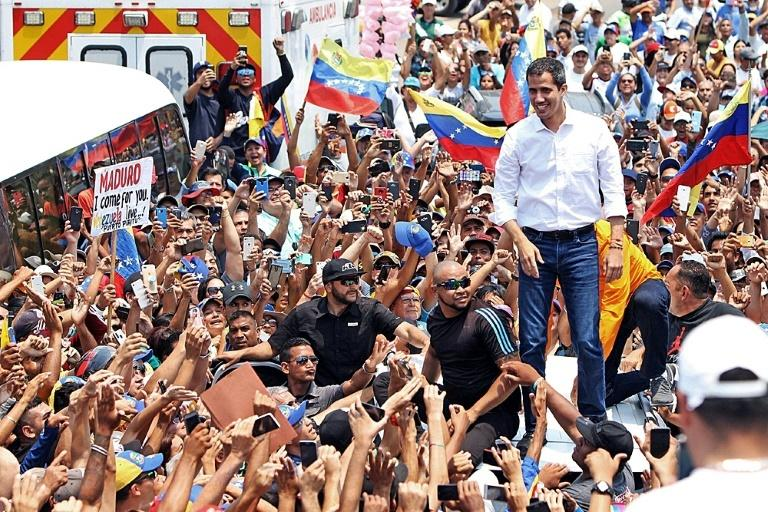 Venezuelan opposition leader and self-proclaimed interim president Juan Guaido, during a demonstration in Barcelona, Anzoategui State, on March 23, 2019