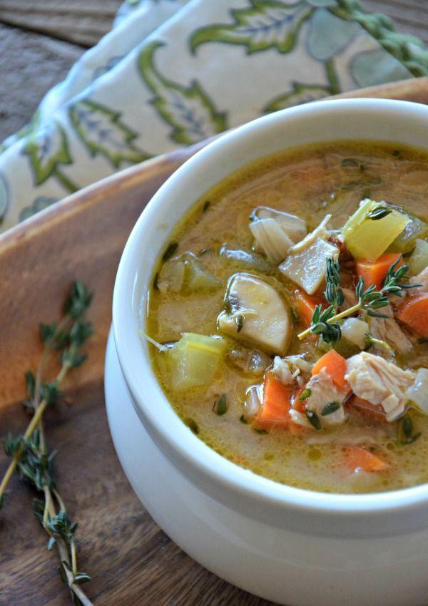 """<p>Reach for this warm soup the next time you're spending a chilly fall day indoors. </p><p><strong>Get the recipe at <a href=""""http://www.mountainmamacooks.com/2013/11/leftover-turkey-wild-rice-soup/"""" rel=""""nofollow noopener"""" target=""""_blank"""" data-ylk=""""slk:Mountain Mama Cooks"""" class=""""link rapid-noclick-resp"""">Mountain Mama Cooks</a>. </strong></p>"""