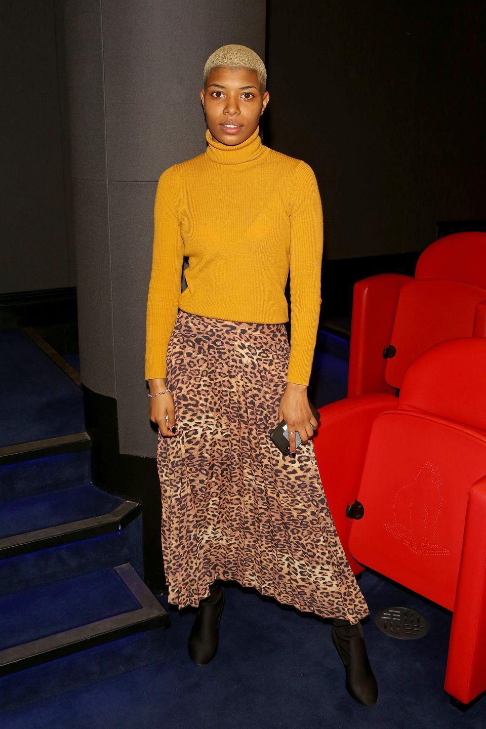<p>This length can feel overwhelming, but don't panic – it's actually kind of amazing. Embrace the length with a wild leopard print, simple boots, and a bright sweater that clashes in the best way. <br><br></p>