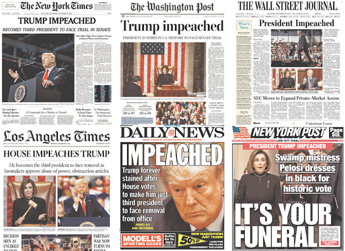 Photo collage: Yahoo News; covers: Courtesy Newseum.org)