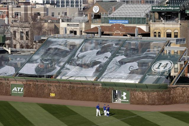 A general view of right field bleacher construction is shown at Wrigley Field before a Major League Baseball season-opening game between the Chicago Cubs and the St. Louis Cardinals in Chicago, Sunday, April 5, 2015. (AP Photo/Nam Y. Huh)
