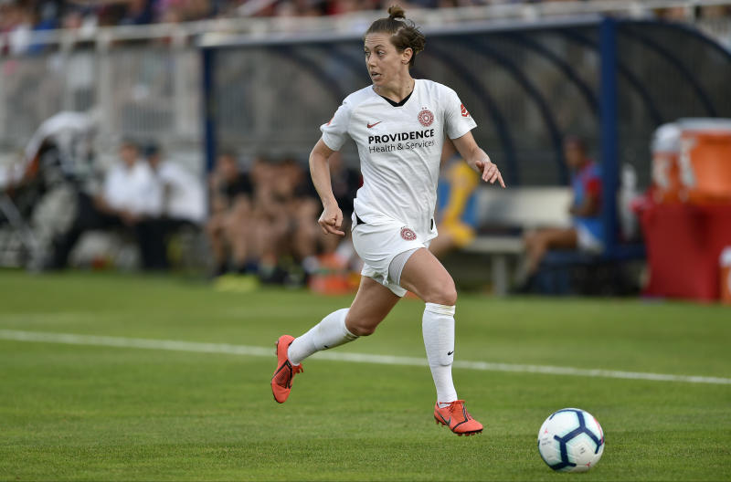 BOYDS, MD - MAY 18: Portland Thorns FC defender Meghan Klingenberg (25) runs with the ball during the National Womens Soccer League (NWSL) game between the Portland Thorns and the Washington Spirit May 18, 2019 at Maureen Hendricks Field at Maryland SoccerPlex in Boyds, MD. (Photo by Randy Litzinger/Icon Sportswire via Getty Images)