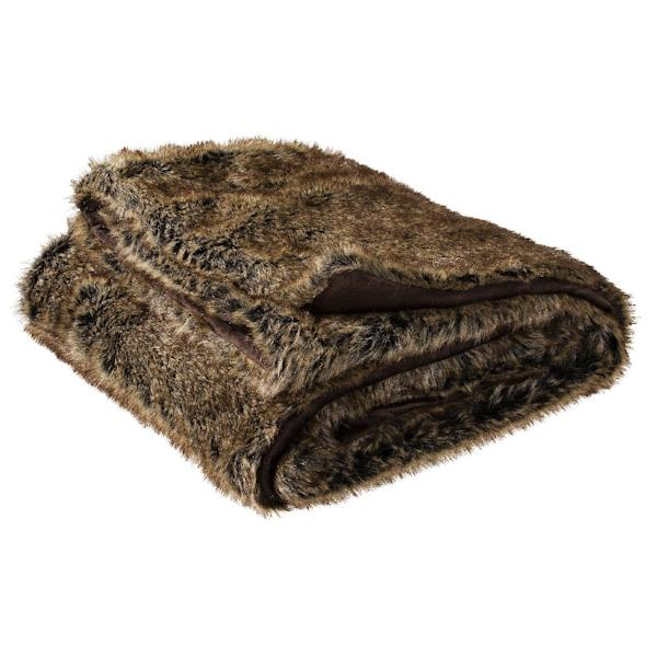 """This undated image provided by Target shows the Threshold Faux Fur Throw in Brown. From faux fur coats to """"vegan leather"""" accents, faux fur gifts are trending, in 2013. (AP Photo/Target, Paul Weber)"""