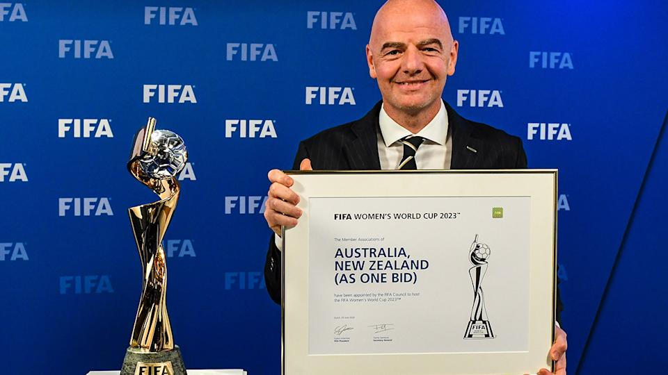 Gianni Infantino, pictured here announcing Australia and New Zealand as the winners.