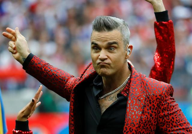 Robbie Williams at the 2018 World Cup. (Photo: Kai Pfaffenbach/Reuters)