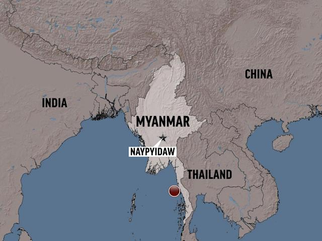 <p>Myanmar shaded relief map shows Naypyidaw and plane crash site. (AP) </p>