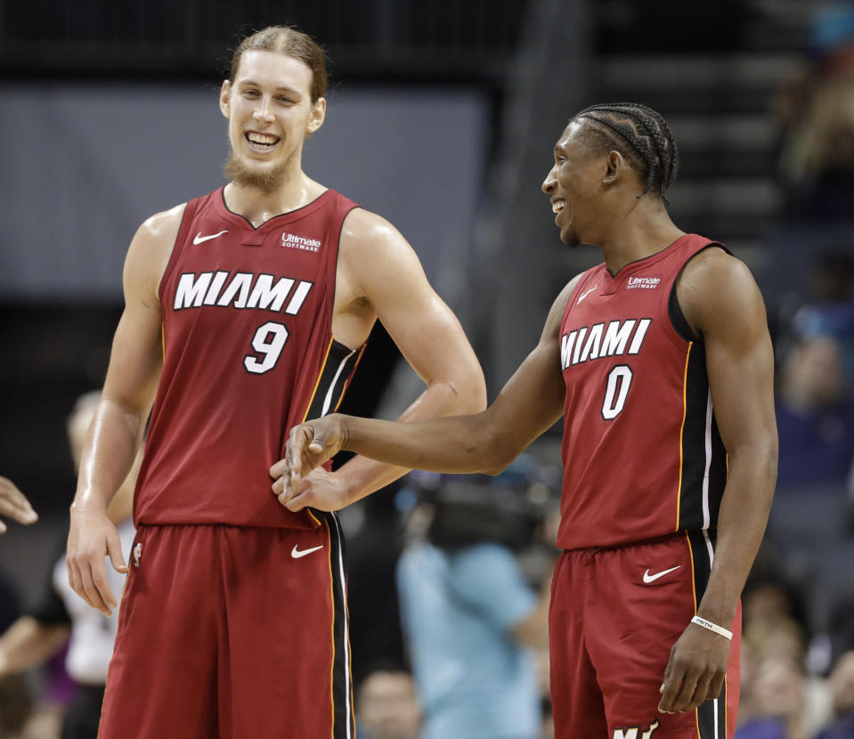"""After Wednesday night, you'd be smiling if you were <a class=""""link rapid-noclick-resp"""" href=""""/nba/players/5164/"""" data-ylk=""""slk:Kelly Olynyk"""">Kelly Olynyk</a>, too. (AP)"""