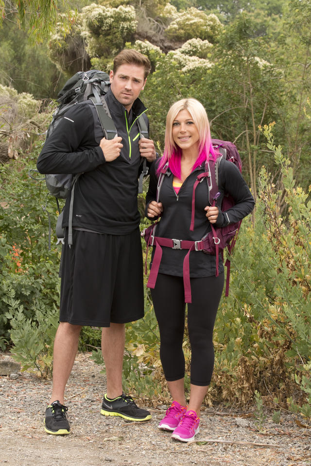 """Ex-CoupleTim Sweeney and Marie Mazzocchi compete in a sprint around the globe for $1 million dollars on the new season of """"The Amazing Race."""""""