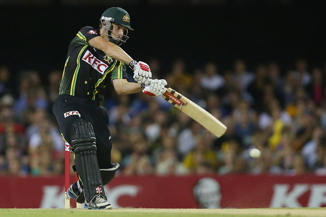 BRISBANE, AUSTRALIA - FEBRUARY 13:  Shaun Marsh of Australia bats during the International Twenty20 match between Australia and the West Indies at The Gabba on February 13, 2013 in Brisbane, Australia.  (Photo by Chris Hyde/Getty Images)