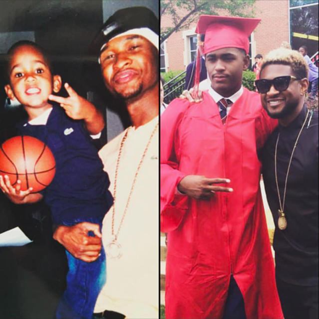 """<p>Usher's marriage to Tameka Foster is long over, but his relationship with her son from a previous relationship, Ryan Glover, continues. The singer attended his one-time stepson's graduation from Woodward Academy in College Park, Ga., on May 13. """"Congratulations Son!!! #classof2017,"""" Usher later wrote alongside now and then photos. """"@ryan1glover Go get em killa!!! This story never gets old….I'm so proud of you. Watching you from the beginning all over again. Love 2Dad."""" (Photo: Usher via Instagram) </p>"""