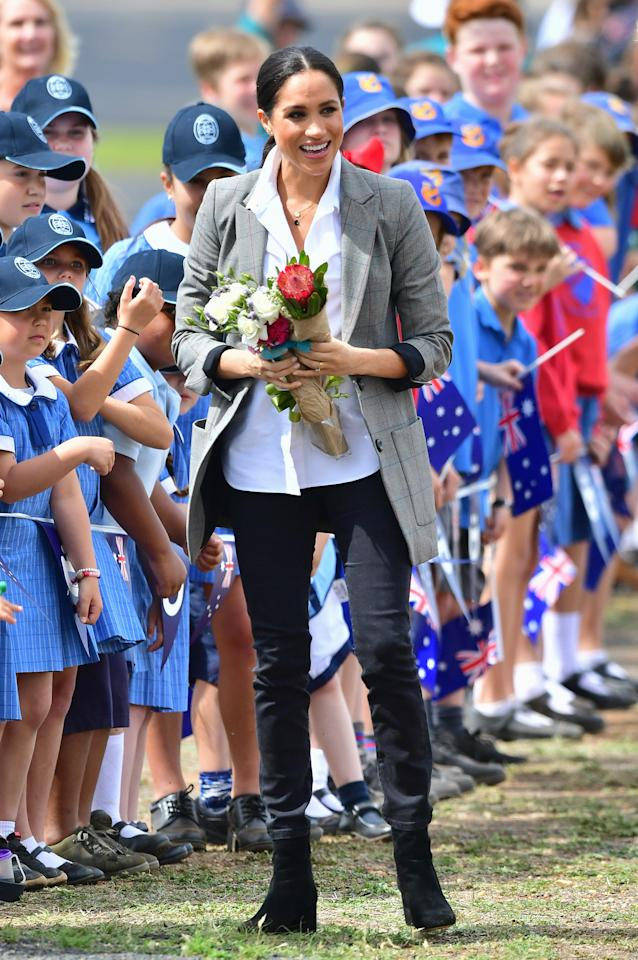 <p>She opted for a AU$203 grey blazer from the tennis champ's brand Serena Williams Collection, for the gloomy morning. Photo: Getty </p>