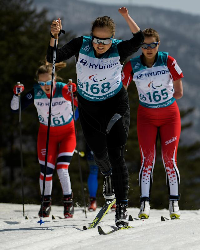 Vilde Nilsen NOR, Natalia Bratiuk NPA and Brittany Hudak CAN (left to right) race in the Cross-Country Skiing Standing Women's 1.5km Sprint Classic Semifinal at the Alpensia Biathlon Centre. The Paralympic Winter Games, PyeongChang, South Korea, Wednesday 14th March 2018. OIS/IOC/Thomas Lovelock/Handout via REUTERS