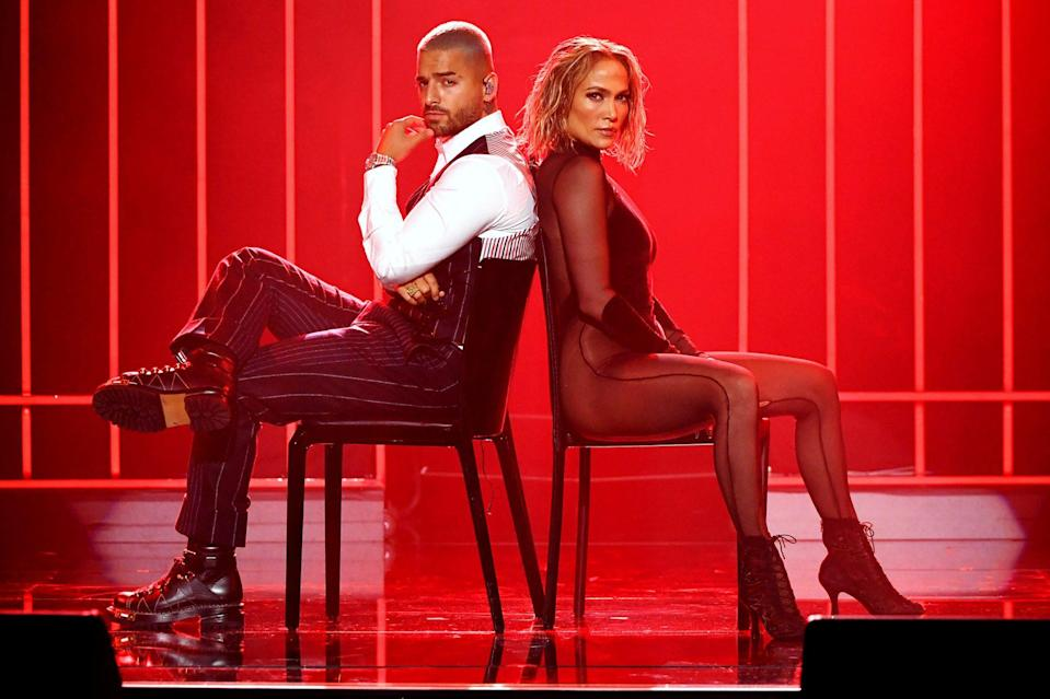 <p>Jennifer Lopez and Maluma bring down the house at the 2020 American Music Awards in L.A. on Sunday.</p>