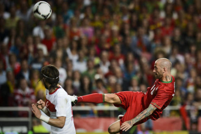 Portugal's midfielder Raul Meireles (R) kicks the ball on June 2, 2012 during a friendly football match against Turkey at the Luz Stadium in Lisbon in preparation for the Euro 2012 football championship, which will take place in Poland and Ukraine from June 8 to July 1. AFP PHOTO/ PATRICIA DE MELO MOREIRAPATRICIA DE MELO MOREIRA/AFP/GettyImages