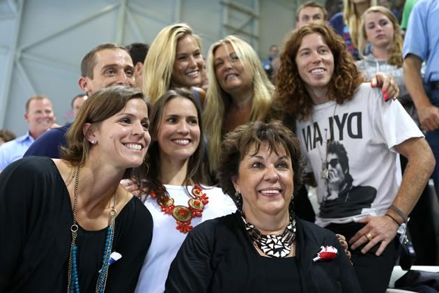 LONDON, ENGLAND - JULY 31:  Debbie Phelps (C) the mother of Michael Phelps of the United States and his sisters Whitney Phelps (L) and Hilary Phelps (2nd L), snowboarder Shaun White of the United States and model Bar Refaeli (top C) pose on Day 4 of the London 2012 Olympic Games at the Aquatics Centre on July 31, 2012 in London, England.  (Photo by Ezra Shaw/Getty Images)