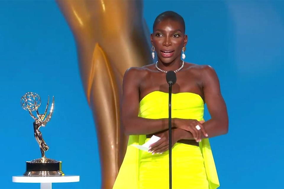 """<p>took home her first Emmy for outstanding writing for a limited or anthology series or movie for <em>I May Destroy You</em>, <a href=""""https://people.com/tv/2021-emmy-awards-michaela-coel-dedicates-i-may-destroy-you-to-sexual-assault-survivors-as-she-accepts-writing-award/"""" rel=""""nofollow noopener"""" target=""""_blank"""" data-ylk=""""slk:dedicating her win"""" class=""""link rapid-noclick-resp"""">dedicating her win</a> to all survivors of sexual assault. </p>"""