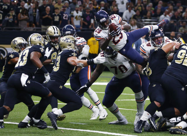 <p>Chicago Bears cornerback Kyle Fuller (23) dives into the end zone for a touchdown in the second half of an NFL football game against the New Orleans Saints in New Orleans, Sunday, Oct. 29, 2017. The Saints won 20-12. (AP Photo/Butch Dill) </p>