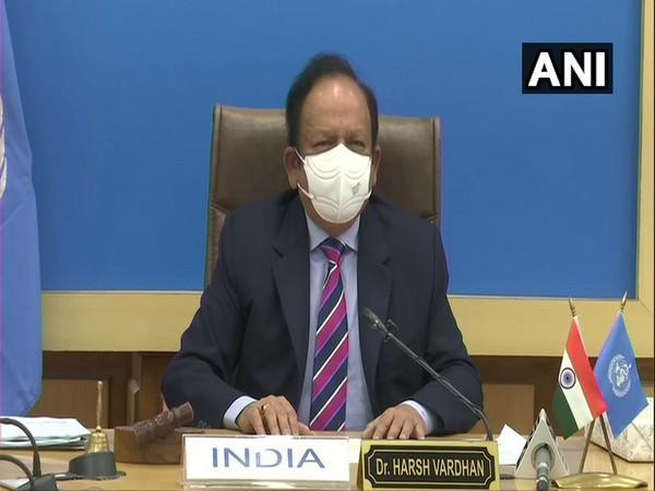 Union Health Minister Dr Harsh Vardhan addressing the 149th session of WHO Executive Board. (Photo/ANI)