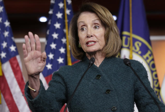 In this Jan. 10, 2019 photo, Speaker of the House Nancy Pelosi, D-Calif., meets with reporters in her first formal news conference, on Capitol Hill in Washington. Pelosi has asked President Donald Trump to postpone his State of the Union address to the nation, set for Jan. 29, until the government reopens. (AP Photo/J. Scott Applewhite)