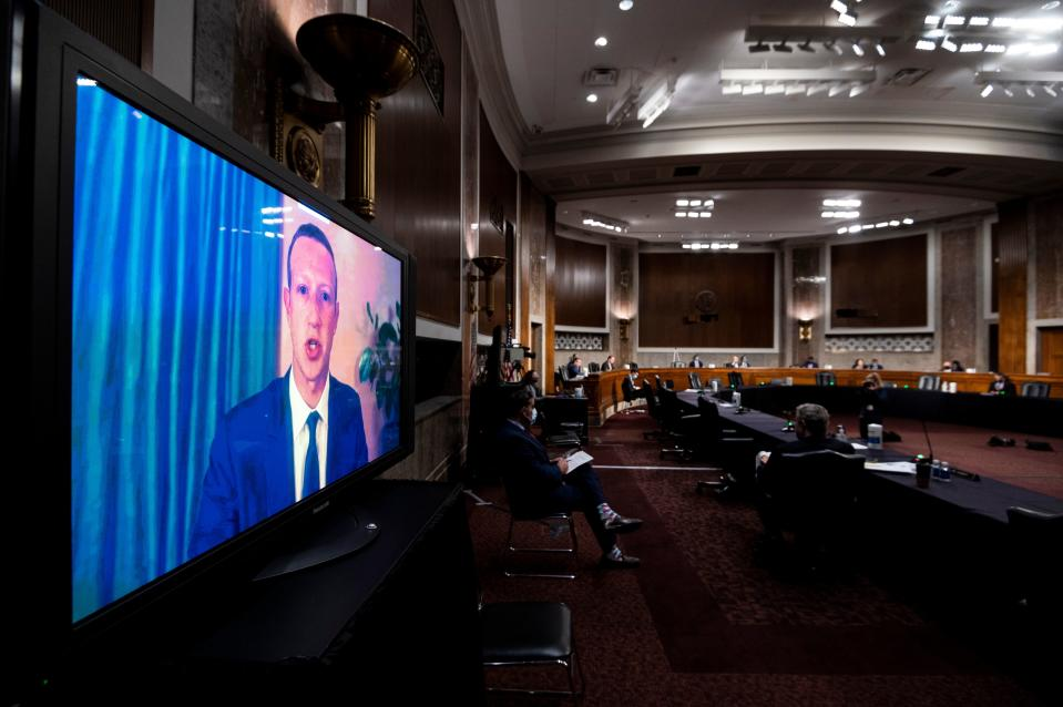Mark Zuckerberg, Chief Executive Officer of Facebook, testifies remotely during the Senate Judiciary Committee hearing on 'Breaking the News: Censorship, Suppression, and the 2020 Election' on Capitol Hill on November 17, 2020 in Washington, DC. (Bill Clarke/Pool/AFP via Getty Images)