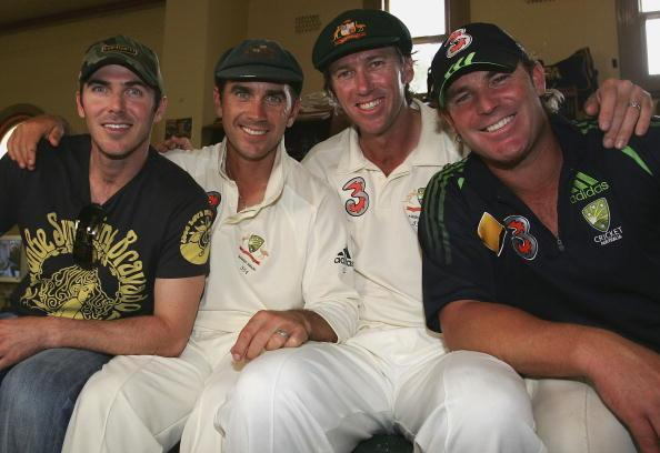 SYDNEY, AUSTRALIA - JANUARY 05: (L-R) Damien Martyn, Justin Langer, Glenn McGrath and Shane Warne of Australia, who all retired from Test Cricket during the series, pose in the rooms after day four of the fifth Ashes Test Match between Australia and England, at the Sydney Cricket Ground on January 5, 2007 in Sydney, Australia. (Photo by Hamish Blair/Getty Images)