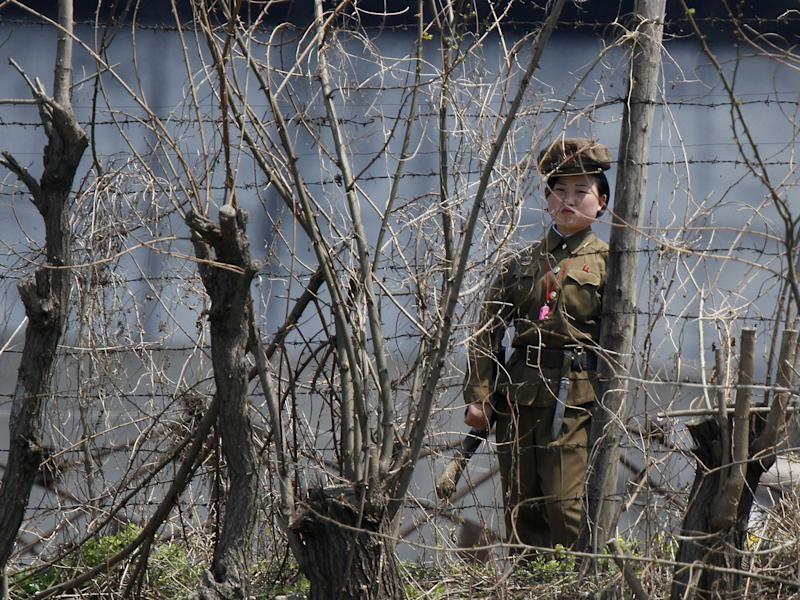 A North Korean prison policewoman stands guard behind fences at a jail on the banks of Yalu River: Reuters
