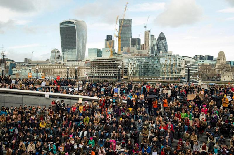Crowds gather at the Scoop, near Tower Bridge in London (PA)